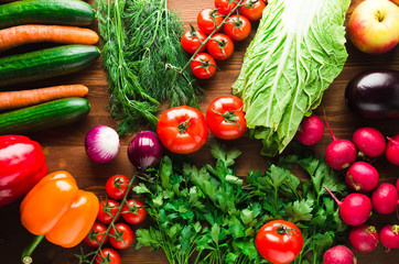 Fresh vegetables. Colorful vegetables background. Healthy vegetable . Assortment of fresh vegetables close up.Healthy food