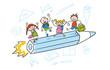 Strichfiguren Kinder bunt Schulstart Schulanfang Einschulung Vektor