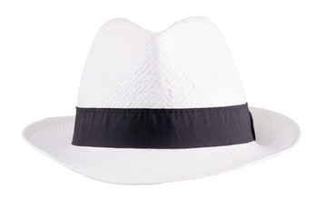 White straw hat. Isolated