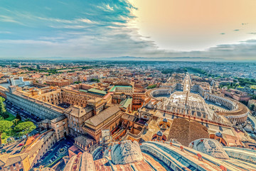 Old photo with aerial view over St. Peter's Square in the Vatican City