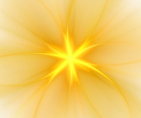 Abstract white background with yellow radial pattern. Centered flower or star with rays texture, fractal