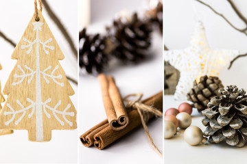 Photo collage, white Christmas decoration, ornaments, wooden fir tree hanging on branch, cinnamon, baubles, pine cones, star, lights, scandinavian, nordic style, minimalist