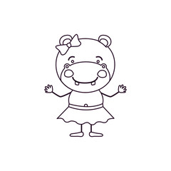 sketch contour caricature of cute expression female hippo in skirt with bow lace vector illustration