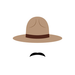 Policeman with Canadian hat and mustache icon. Vector illustration.