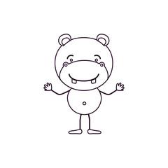 sketch contour caricature of cute hippopotamus happiness expression vector illustration