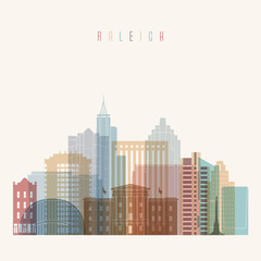Raleigh state North Carolina skyline detailed silhouette. Transparent style. Trendy vector illustration.