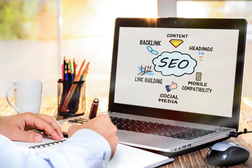 Search Engine Optimization (SEO) Concept On Laptop Screen