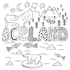 Iceland hand drawn cartoon map. Cute vector illustration with travel landmarks, animals and natural phenomena.