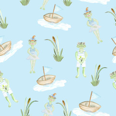 A seamless pattern with a pattern of frogs, a boat and reeds. Children's pattern. Illustration