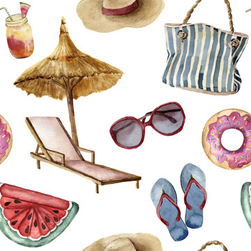 Watercolor summer beach pattern. Hand painted summer vacation objects: sunglasses, beach umbrella, beach chair, straw hat, beach bag, pool floats and flip-flops. Tropical illustration.