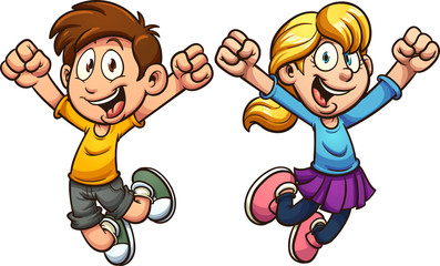 Happy cartoon boy and girl. Vectorclip art illustration with simple gradients. Each on a separate layer.