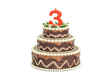 Chocolate Birthday cake with candle number 3, 3D rendering