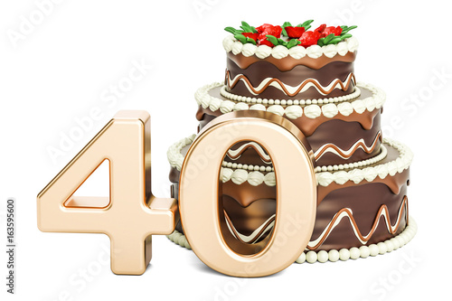 Chocolate Birthday Cake With Golden Number 40 3D Rendering
