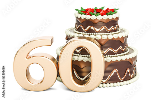 Chocolate Birthday Cake With Golden Number 60 3D Rendering