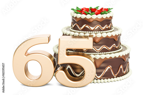 Chocolate Birthday cake with golden number 65, 3D rendering