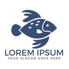 Fish abstract vector design logo template.