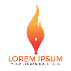 Fire and pen nib vector logo design.