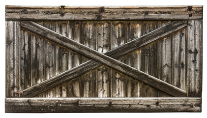 Vintage rural texture of barn with cross from laths. Isolated on white background.