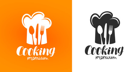 Cooking label or logo. Restaurant, eatery, diner, bistro, cafe icon. Vector illustration