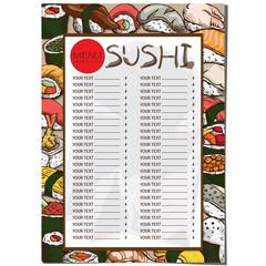 menu Japanese food restaurant template design hand drawing graphic.