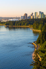 Seawall along Stanley Park in Vancouver BC in Canada