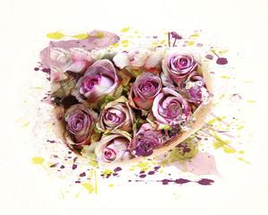 Roses, flowers - Pink, green, purple - Digital Art - Watercolors, Splash - Text space, copy space