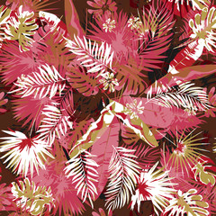 Tropical floral seamless palm trees pattern a camouflage background trendy colors. Graphic painting exotic plants and jungle on a grunge abstract background.