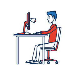 man character sitting working desk computer