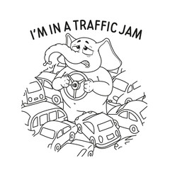 Elephant. Character. Standing in a traffic jam. Steering wheel in hands. A lot of cars. Big collection of isolated elephants. Vector, cartoon.