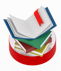 open book with bookmark on a stack of books 3D illustration another version
