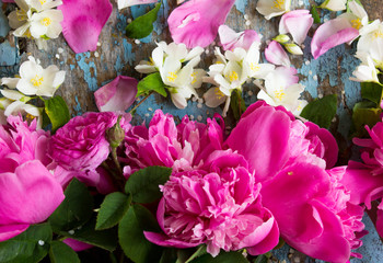 Background with peony petals ,