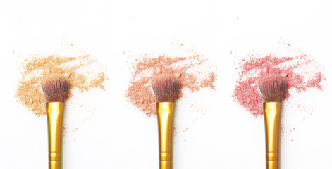 Makeup brushes with eyeshadow / blush powder - natural tones