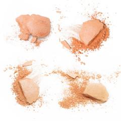 Crushed make up on white background