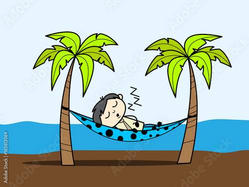 Cartoon Boy Enjoying Vacation At Beach And Sleeping On Hammock