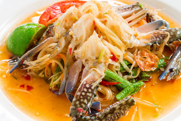 "Papaya salad with crab or what we called ""Somtum"" in Thai, Famous Thai food."