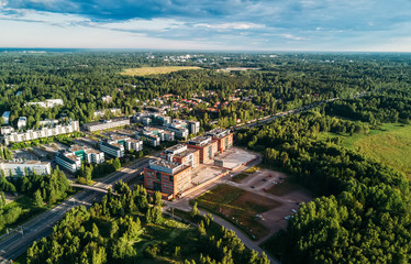 Aerial view of Finnish town, builidings, park