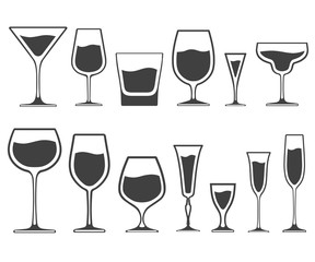 Set of vector icons of wineglasses and glasses of different shapes with liquid inside isolated on white background