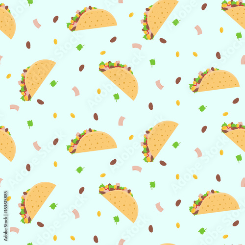 Cute Cartoon Colorful Seamless Pattern With Mexican Tacos Corn Lettuce And Kidney Bean