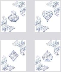 Casino Poker card symbols, vector illustration