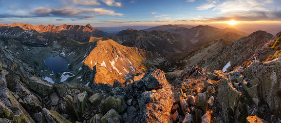Wall Mural - Panorama of Tatra mountain at sunset