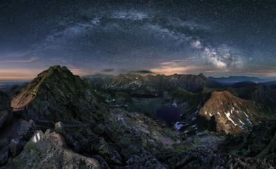Zelfklevend Fotobehang Bergen Milky way over Tatras mountain panorama, Poland