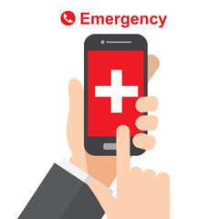 emergency call , ambulance , hand holds smartphone. vector illustration.