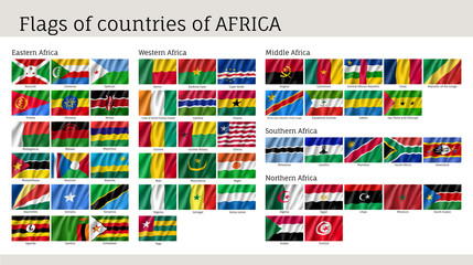Africa flags big set. Travel agency or classroom geography poster, political map information. Realistic vector illustration on white background