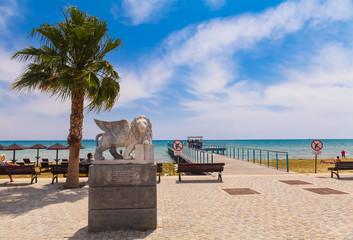 LARNACA, CYPRUS . View on the Winged Lion statue on the promenade at Foinikoudes, in the south coast town of Larnaca on the Mediterranean island of Cyprus.