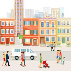 Straße in der Stadt mit Fußgänger Illustration