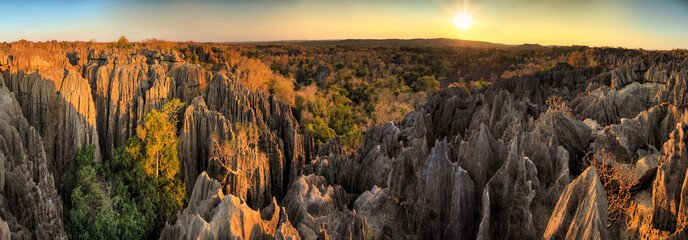 Beautiful 180 degree HDR panorama of the unique geography at the Tsingy de Bemaraha Strict Nature Reserve in Madagascar