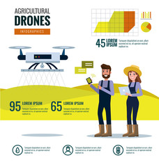Smart farmer and agricultural drones infographics. Farm Data analysis and management concept. flat design elements. vector illustration