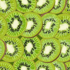 Hand-drawn seamless background with kiwi fruit, single, peeled and sliced, realistic drawing,