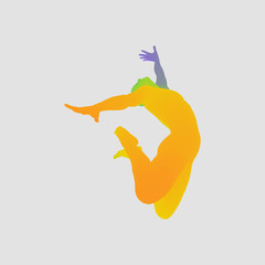 Jumping Man. Gymnast. 3D human body model. Gymnastics activities for icon health and fitness community. Vector illustration.