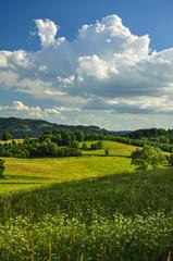 Letni krajobraz z chmurą